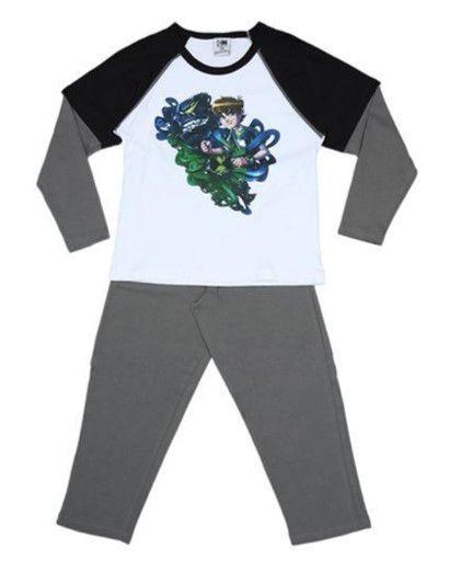 Pijama do Ben 10 - Manga Raglan - Preto e Cinza Escuro - Lupo