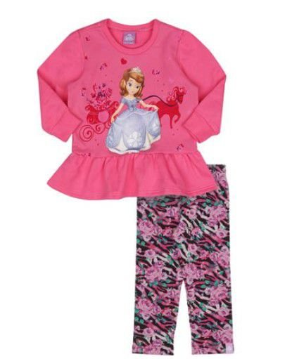 Conjunto de Blusa de Moleton e Legging da Princesa Sofia - Rosa e Preto - Malwee