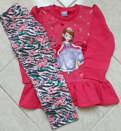Conjunto de Blusa de Moleton e Legging da Princesa Sofia - Coral e Cinza Chumbo - Malwee
