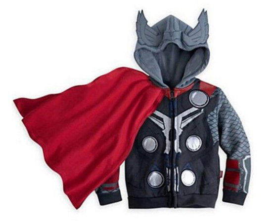 Casaco do Thor - Coleção Super Heróis - Cinza e Vermelho