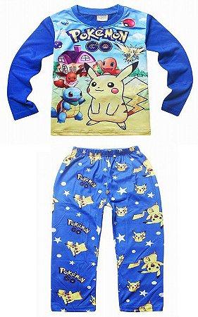 Pijama Infantil Pikachu e Pokémon - Azul e Amarelo