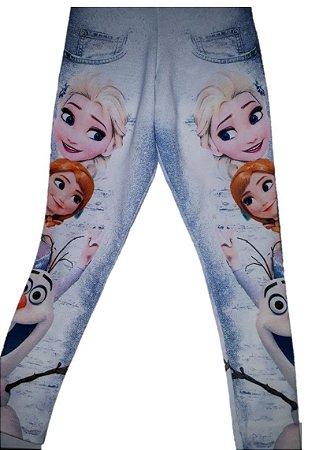 Legging da Elsa e Anna - Frozen - Azul e Branca