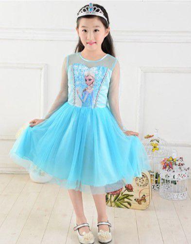 Vestido Elsa - Frozen - Cetim e Tule - Azul