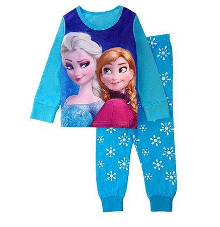 Pijama da Elsa e Anna - Frozen - Azul Petróleo
