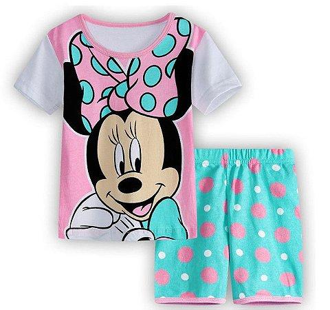 Pijama da Minnie - Rosa e Verde Água