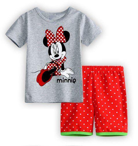 Pijama da Minnie - Cinza e Vermelho - Bolinhas Brancas