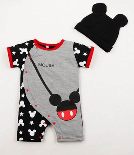 Body do Mickey com Touca - Cinza e Preto