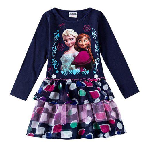 Vestido da Anna e Elsa (Frozen) - Babados e Tule - Azul Marinho