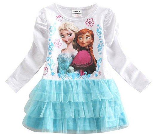 Vestido da Anna e Elsa - Frozen - Tule Azul