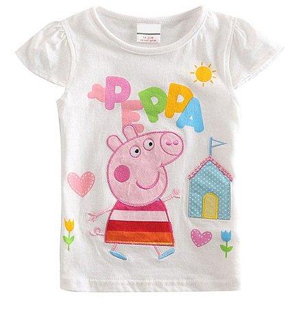 Blusa da Peppa Pig - Bordada - Branca