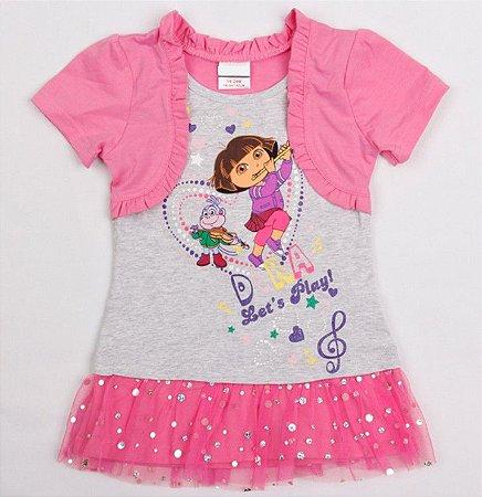 Vestido da Dora Aventureira com Bolero - Tule e Brilhos - Rosa e Cinza