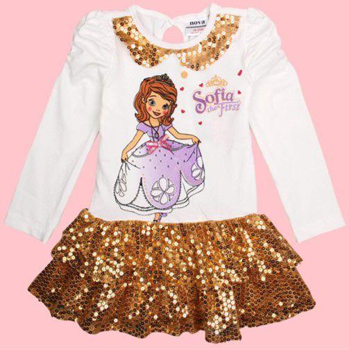 Vestido de Festa - Princesa Sofia (Disney) - Paetê Dourado