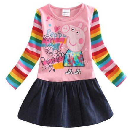 Vestido da Peppa Pig - Manga Colorida