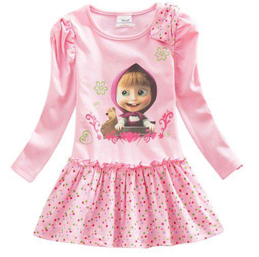 Vestido da Masha e Urso - Manga Drapeada - Rosa e Poá