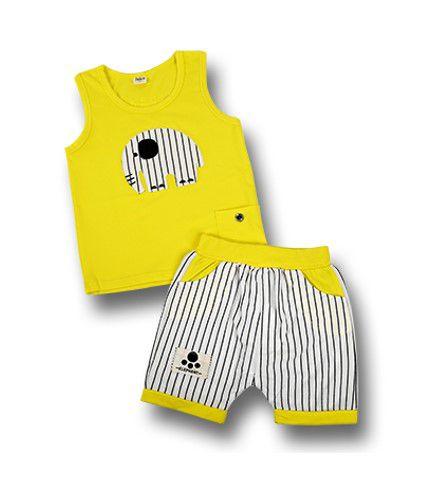 Pijama Bebê Elefante Listrado - Amarelo e Branco