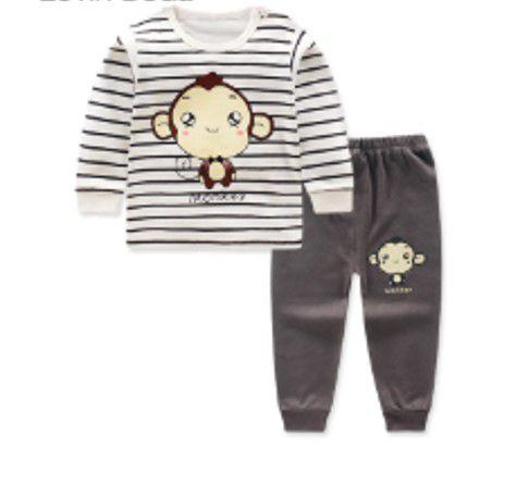 Pijama do Macaquinho - Marrom e Branco