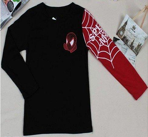 Camiseta do Homem Aranha - Preto e Vermelho