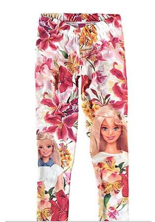 Legging da Barbie - Floral - Malwee Kids - Branca Colorida
