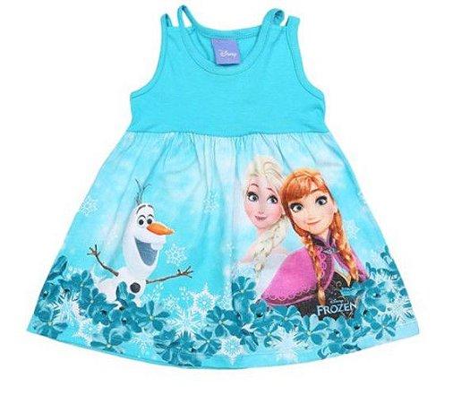 Vestido da Elsa, Anna e Olaf - Frozen - Azul Claro e Branco - Brandili