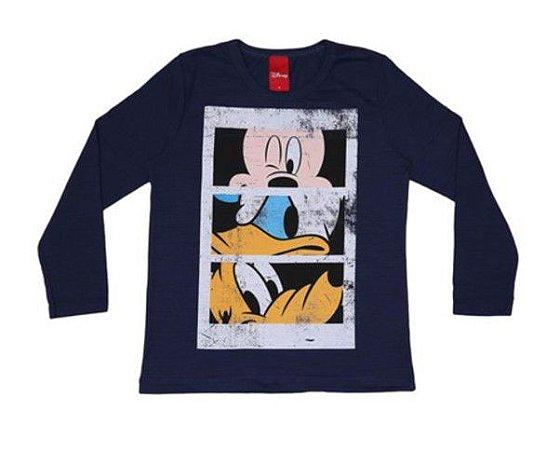 Camiseta Flamê do Mickey e Amigos - Azul Marinho - Cativa Disney
