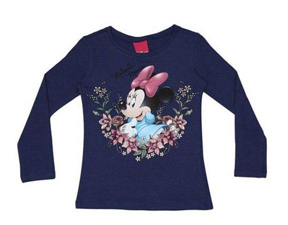 Blusa Minnie com Flores - Azul Marinho - Cativa Disney