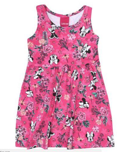 Vestido Infantil Floral Minnie - Rosa - Cativa Disney