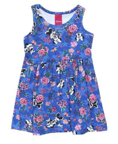 Vestido Infantil Floral Minnie - Azul Royal -  Disney Cativa