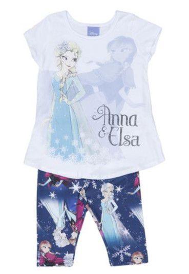 Conjunto de Blusa Elsa e Anna + Legging - Azul - Brandili