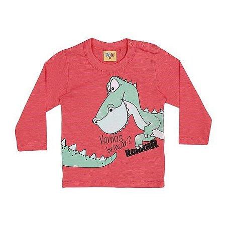 Camiseta do Dinossauro - Manga Longa - Coral - Bebê - Rolú