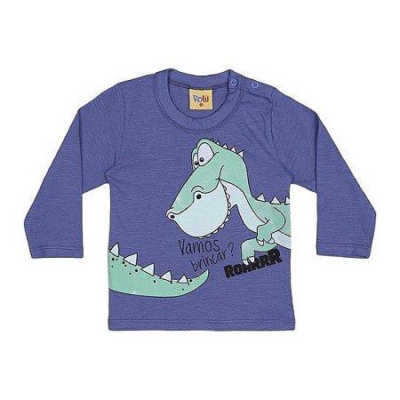Camiseta do Dinossauro - Manga Longa - Azul - Bebê
