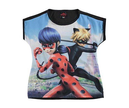 Blusa Ampla Miraculous - Ladybug e Cat Noir - Preta e Azul - Malwee