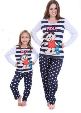 Pijama da Mônica e Sansão - Coleção Mãe e Filha - Listrado