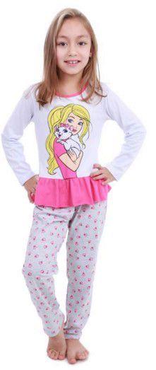Pijama Infantil Barbie e Gatinha - Branco e Rosa