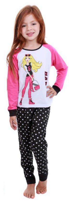 Pijama da Barbie - Poá Branco