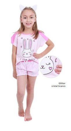 Pijama Short Doll do Coelhinho com Glitter