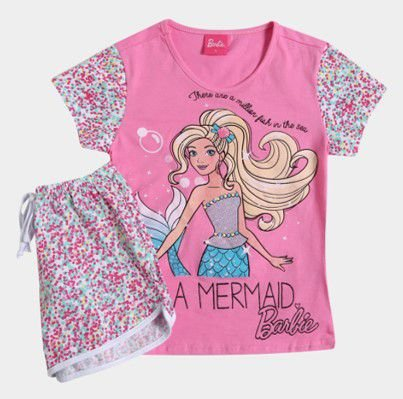 Pijama Short Doll da Barbie Sereia
