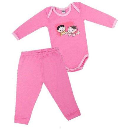 Conjunto de Body e Calça da Mônica e Magali - Rosa - Bebê