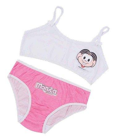 Conjunto de Top e Calcinha - Mônica - Branco e Rosa