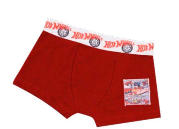 Cueca Boxer Hot Wheels - Vermelho e Branco
