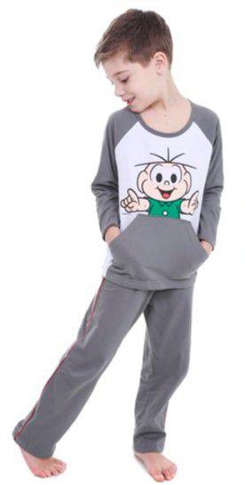 Pijama do Cebolinha - Turma da Mônica - Cinza e Branco