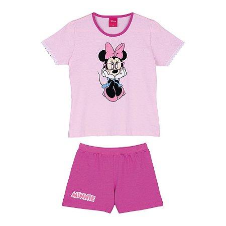 b205a1e302d0d9 Pijama (Short Doll) Minnie Rosa - Disney - Lupo