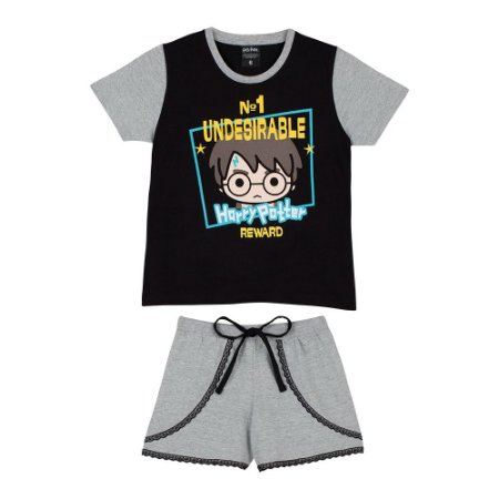 Pijama Short Doll Harry Potter Disney  - Cinza e Preto - Lupo