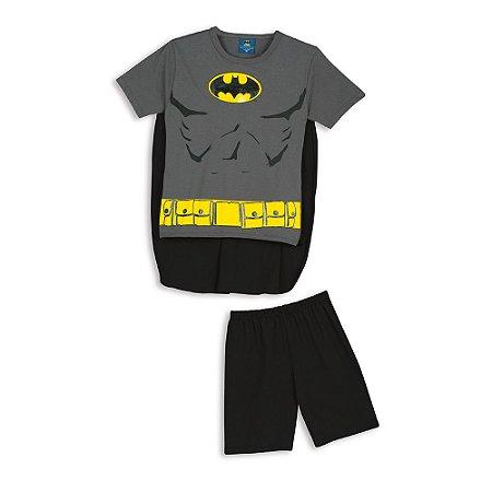 Pijama Infantil Menino Batman com Capa Removível Cinza e Preto - Lupo