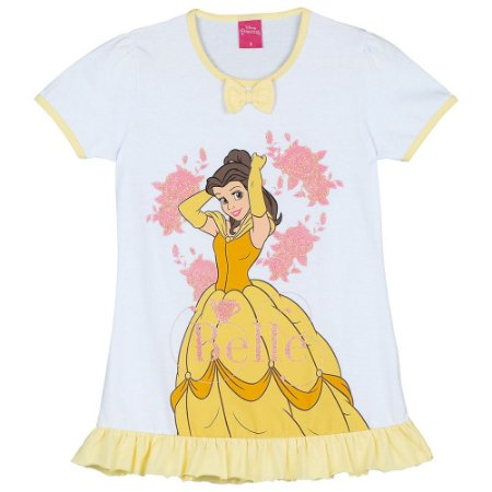 Camisola Infantil Princesa Bela Disney - Amarelo e Branco - Lupo