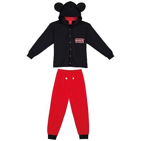 Pijama Mickey com Capuz Fleece - Disney - Lupo