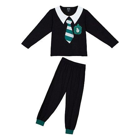 Pijama Infantil Harry Potter Slytherin -  Preto e Verde - Lupo