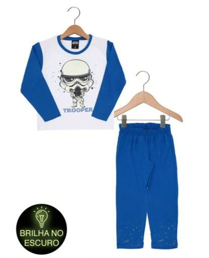 Pijama Star Wars Trooper Brilha Escuro- Azul - Lupo