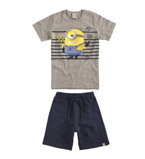 Conjunto de Camiseta e Bermuda Moletom - Minions - Malwee