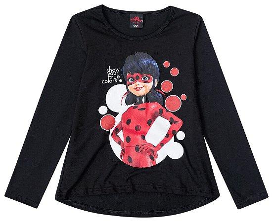 Blusa Miraculous - Ladybug - Preta - Malwee