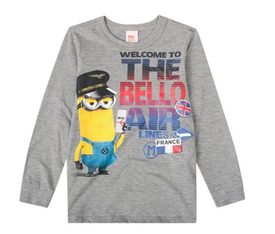 Camiseta dos Minions - Cinza Mescla - Malwee